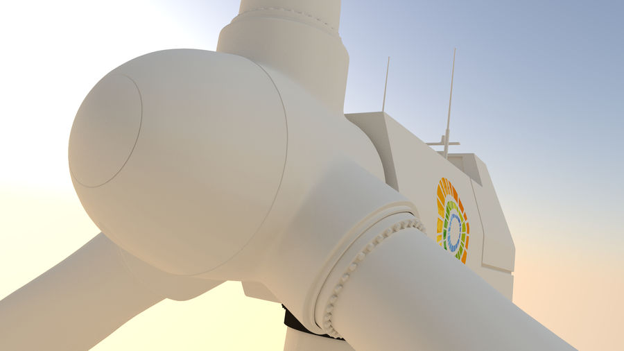 wind turbine(1) royalty-free 3d model - Preview no. 4