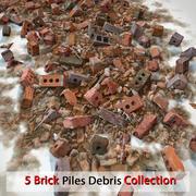 Mucchio di detriti di pietra realistica di mattoni V-ray dettagliato V-ray dettaglio Vray rosso sporco sporco vecchio terreno (2) 3d model
