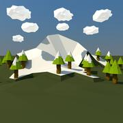 Низкополигональный горный пейзаж 3d model