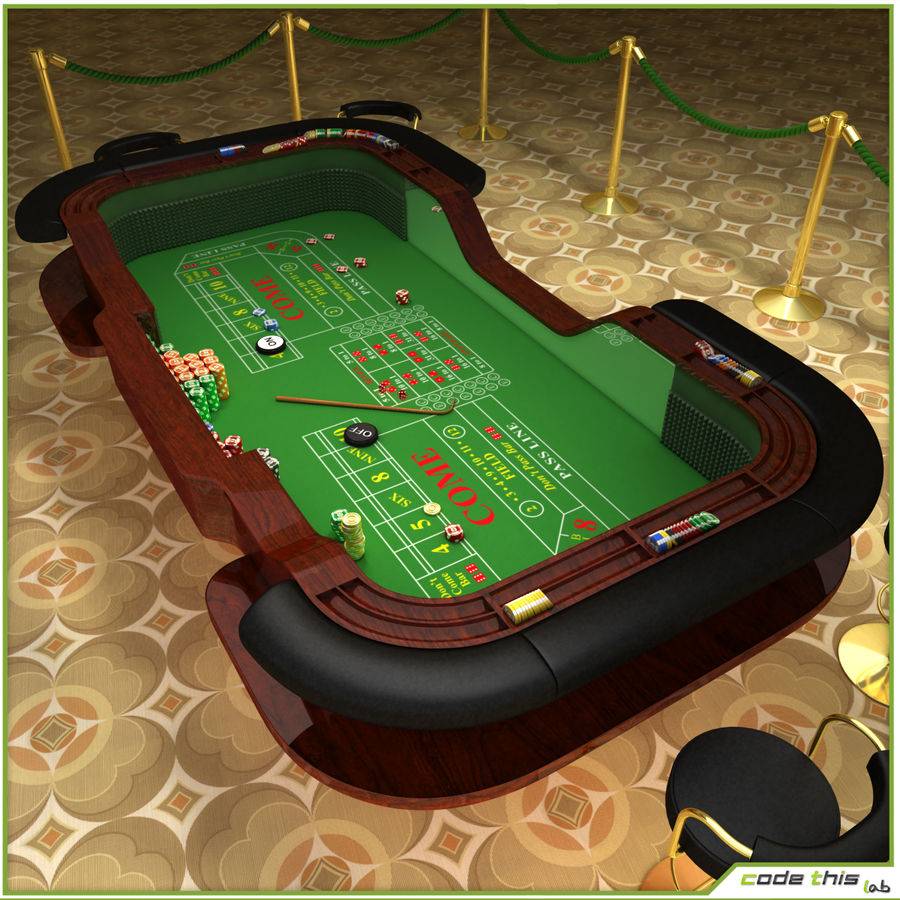 Table Casino - Craps Table royalty-free 3d model - Preview no. 6