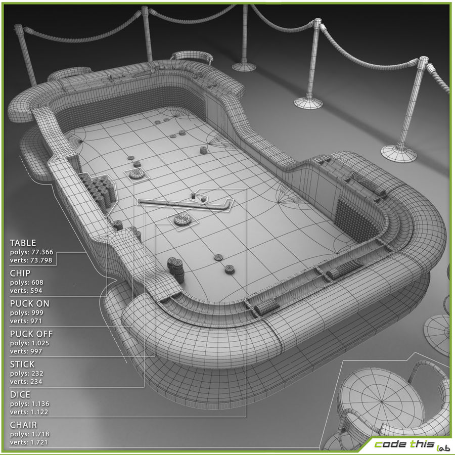 Table Casino - Craps Table royalty-free 3d model - Preview no. 11