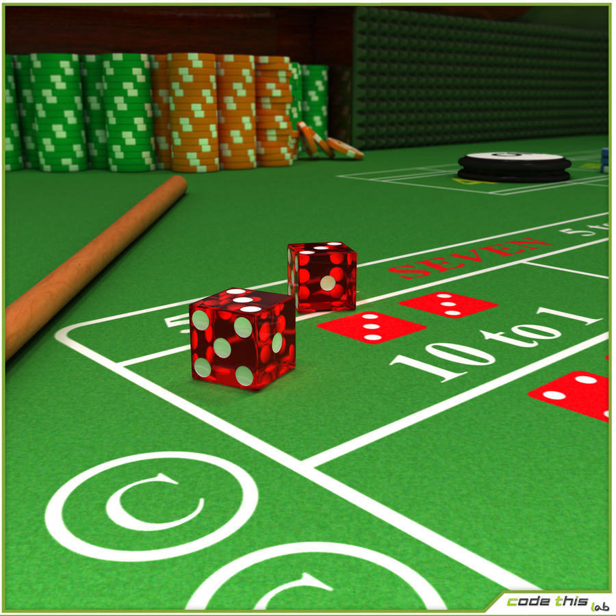 Table Casino - Craps Table royalty-free 3d model - Preview no. 4