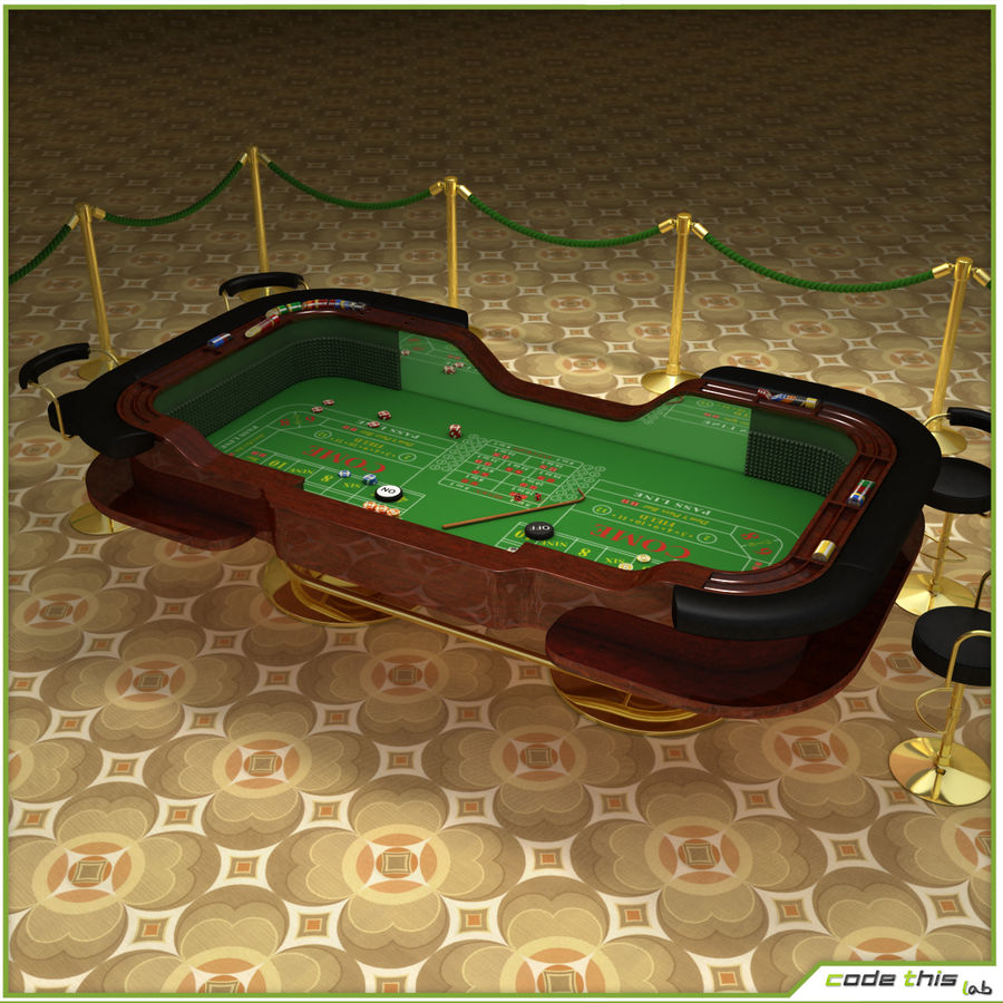 Table Casino - Craps Table royalty-free 3d model - Preview no. 2