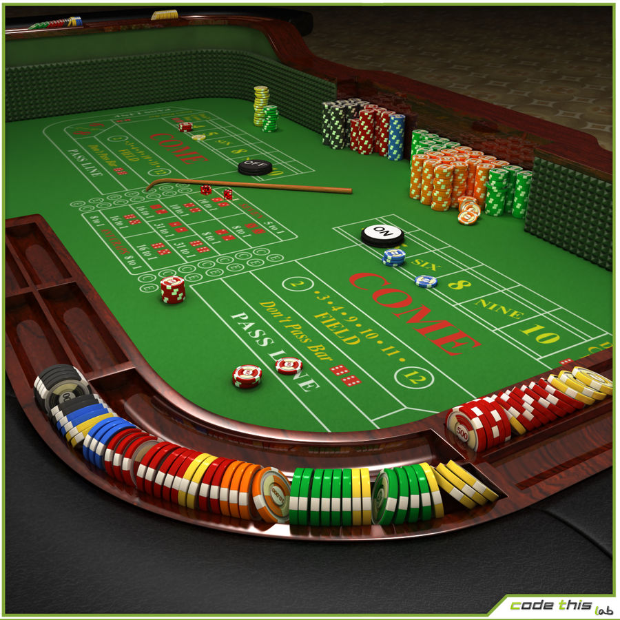Table Casino - Craps Table royalty-free 3d model - Preview no. 3