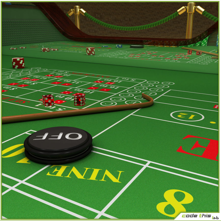 Table Casino - Craps Table royalty-free 3d model - Preview no. 5