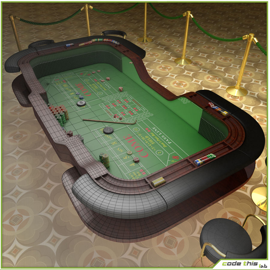 Table Casino - Craps Table royalty-free 3d model - Preview no. 8