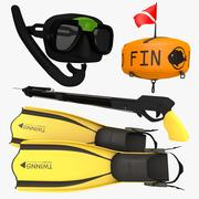 Paquete básico de natación y pesca submarina modelo 3d