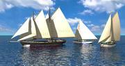 Caribbean Sailboats x3 3d model
