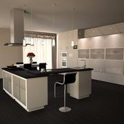 Muebles de cocina blanco modelo 3d