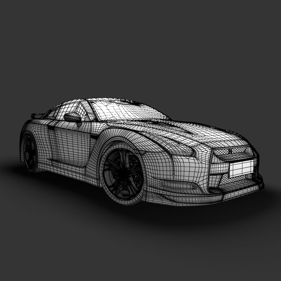 Nissan GTR royalty-free 3d model - Preview no. 7