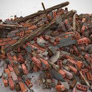 Tegel Realistiska stenavfall Hög Detaljerad V-stråle v-stråle Vray detalj röd smutsig gammal smuts jord hus struktur hög orange 3d model