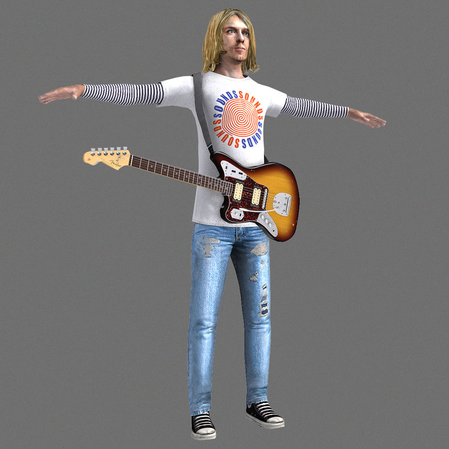 Kurt Cobain royalty-free 3d model - Preview no. 1