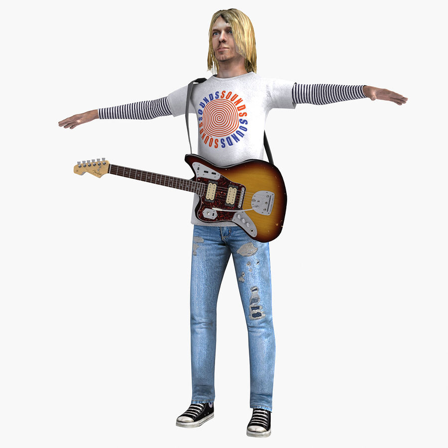 Kurt Cobain royalty-free 3d model - Preview no. 15