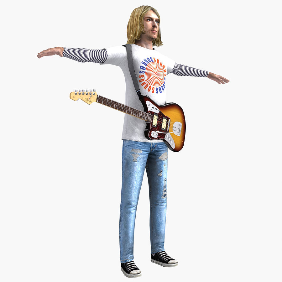 Kurt Cobain royalty-free 3d model - Preview no. 11