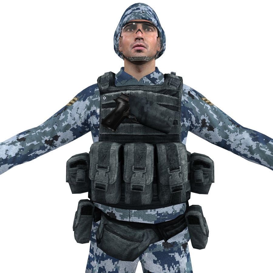 Soldier full 3 royalty-free 3d model - Preview no. 9
