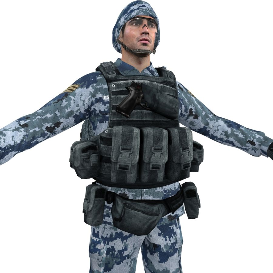 Soldier full 3 royalty-free 3d model - Preview no. 8
