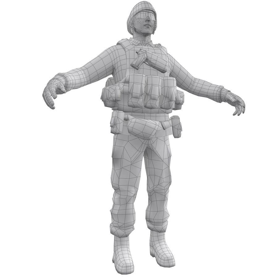 Soldier full 3 royalty-free 3d model - Preview no. 12