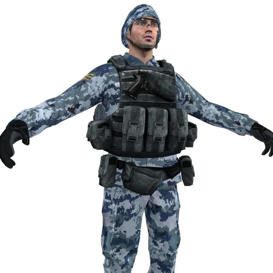 Soldier full 3 royalty-free 3d model - Preview no. 6