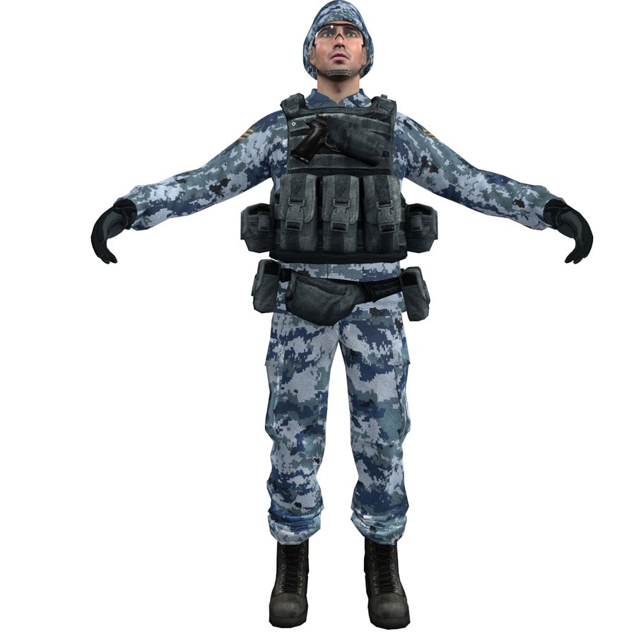 Soldier full 3 royalty-free 3d model - Preview no. 2