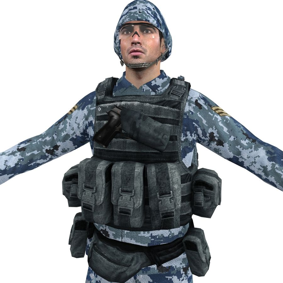 Soldier full 3 royalty-free 3d model - Preview no. 10