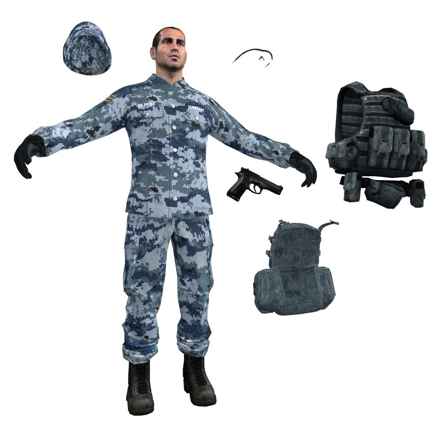 Soldier full 3 royalty-free 3d model - Preview no. 11