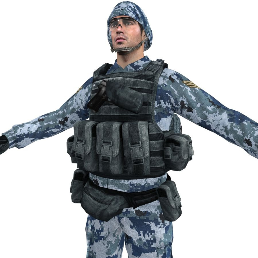 Soldier full 3 royalty-free 3d model - Preview no. 7