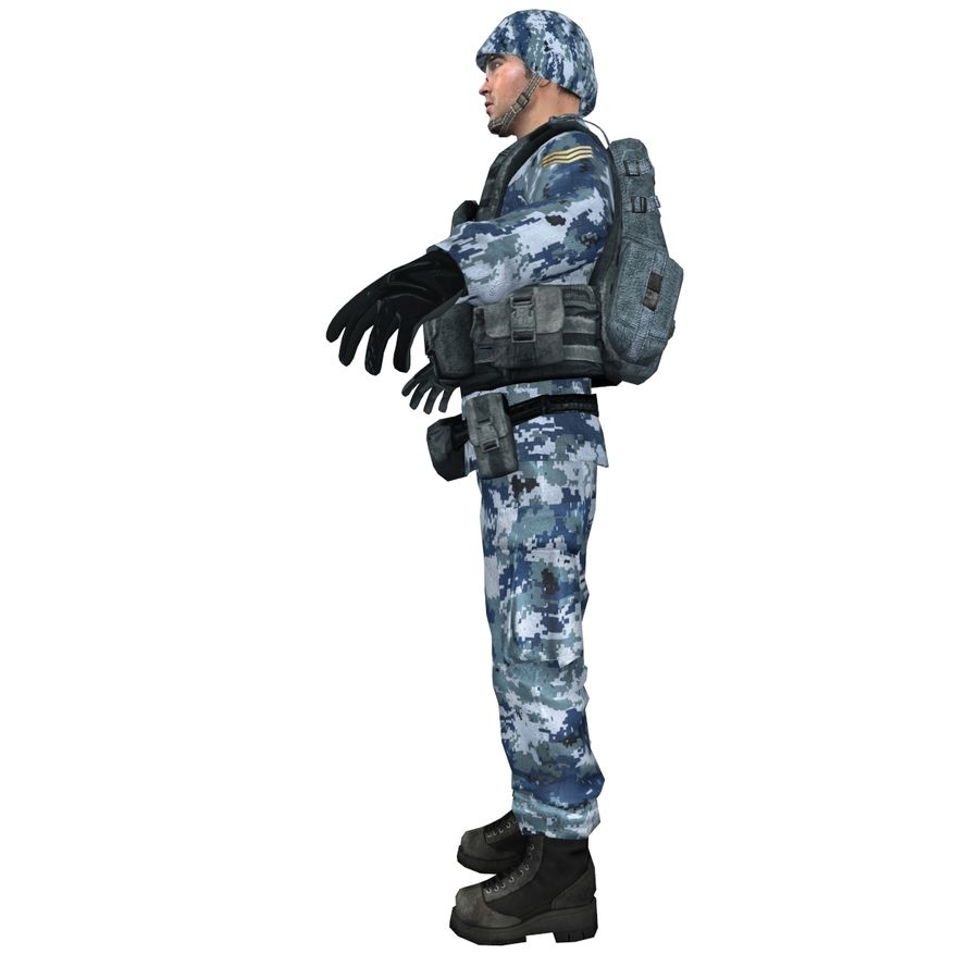 Soldier full 3 royalty-free 3d model - Preview no. 4