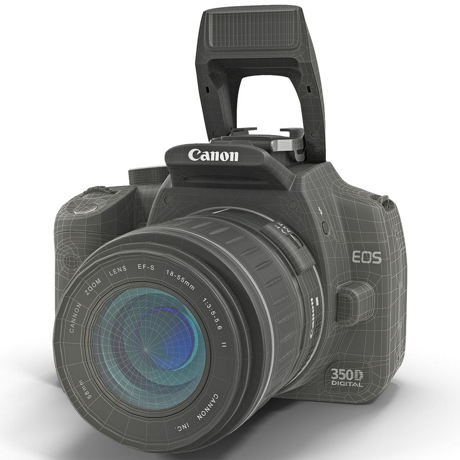Dijital SLR Fotoğraf Makinesi Canon EOS 350D royalty-free 3d model - Preview no. 26