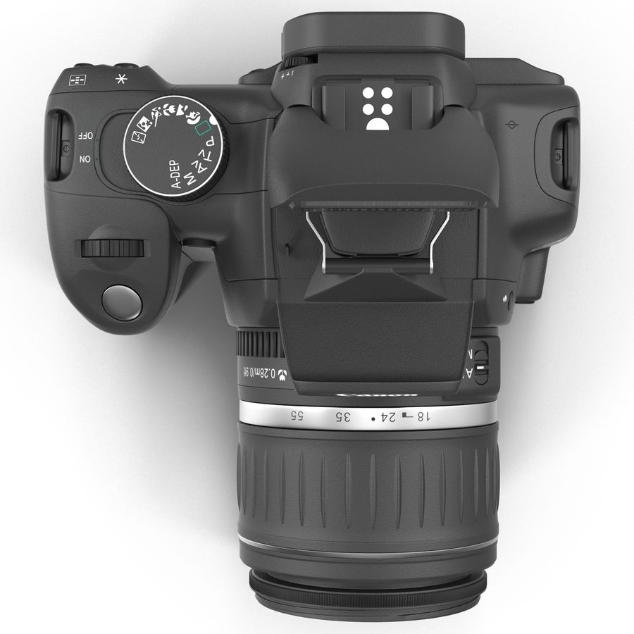 Dijital SLR Fotoğraf Makinesi Canon EOS 350D royalty-free 3d model - Preview no. 7
