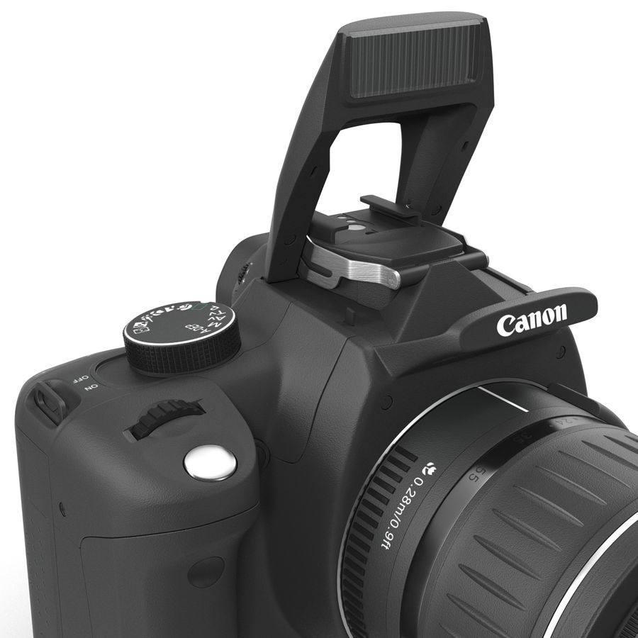 Dijital SLR Fotoğraf Makinesi Canon EOS 350D royalty-free 3d model - Preview no. 20