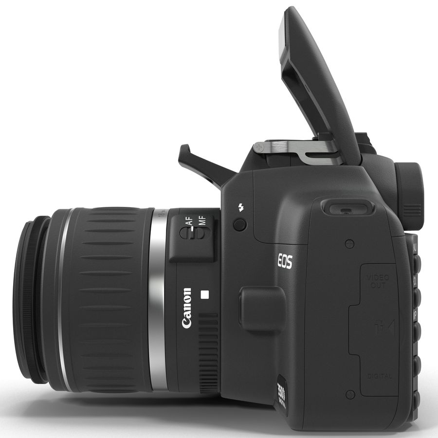 Dijital SLR Fotoğraf Makinesi Canon EOS 350D royalty-free 3d model - Preview no. 4