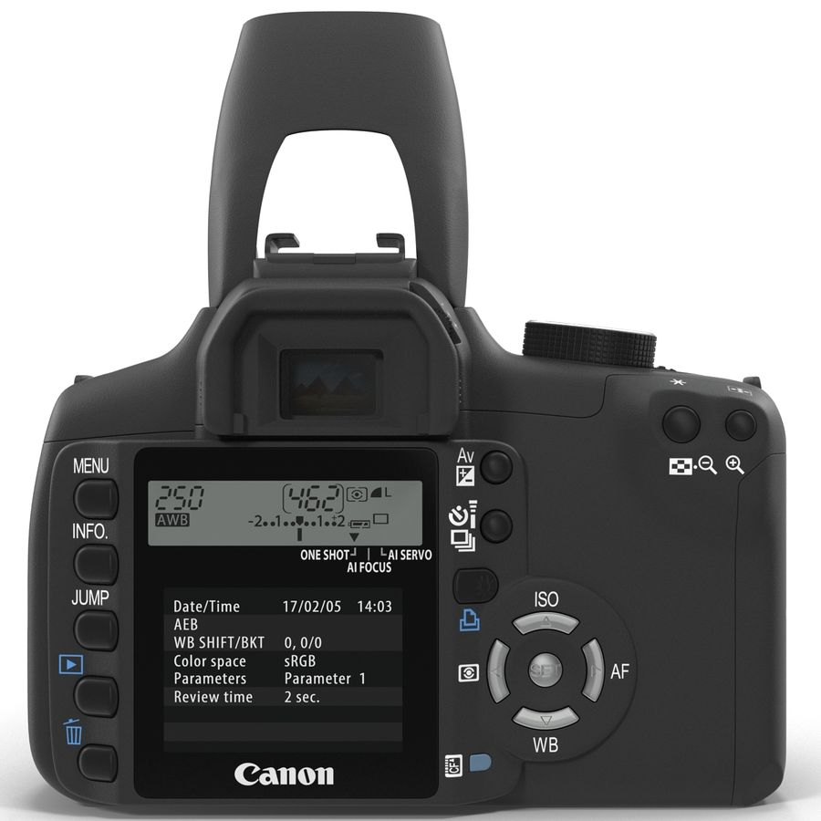 Dijital SLR Fotoğraf Makinesi Canon EOS 350D royalty-free 3d model - Preview no. 5