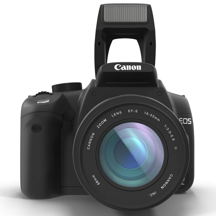 Dijital SLR Fotoğraf Makinesi Canon EOS 350D royalty-free 3d model - Preview no. 3