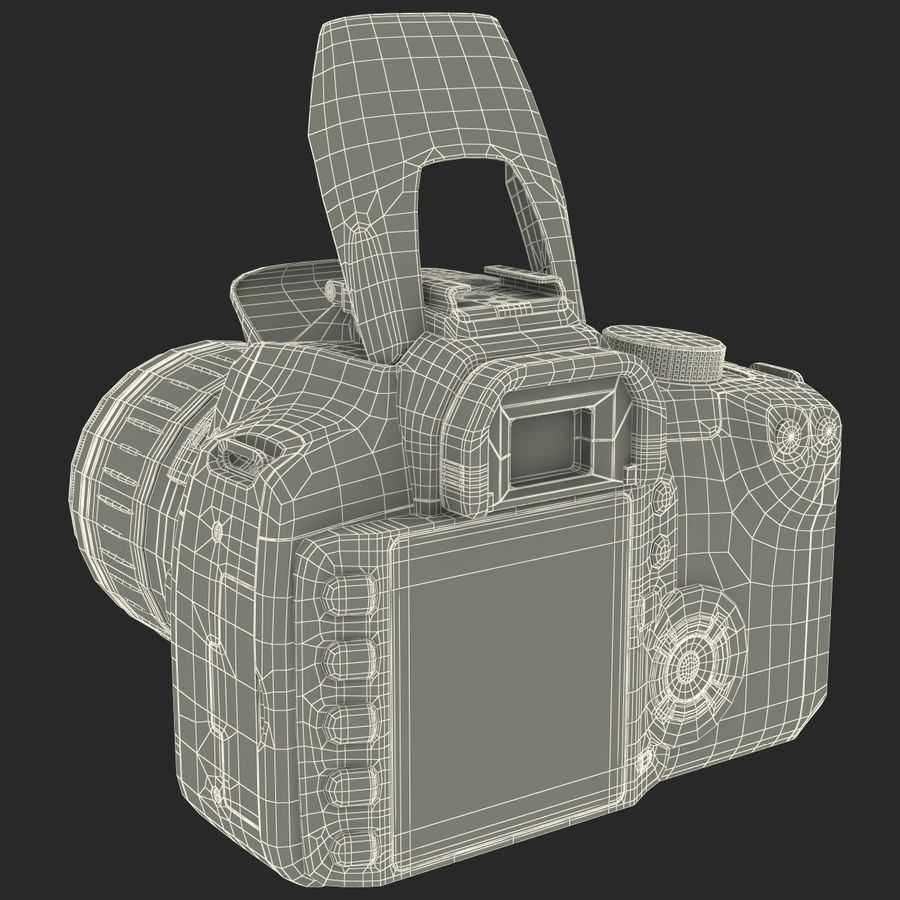 Dijital SLR Fotoğraf Makinesi Canon EOS 350D royalty-free 3d model - Preview no. 37