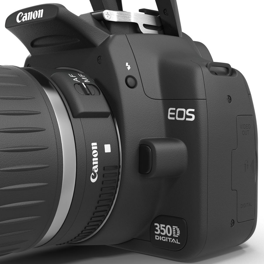 Dijital SLR Fotoğraf Makinesi Canon EOS 350D royalty-free 3d model - Preview no. 23