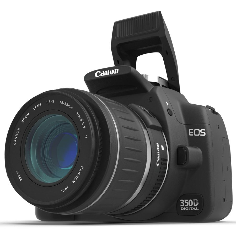 Dijital SLR Fotoğraf Makinesi Canon EOS 350D royalty-free 3d model - Preview no. 12