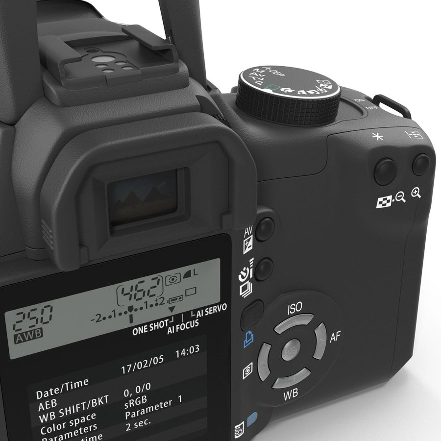 Dijital SLR Fotoğraf Makinesi Canon EOS 350D royalty-free 3d model - Preview no. 19