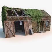 Старый разрушенный дом в сельской местности 3d model