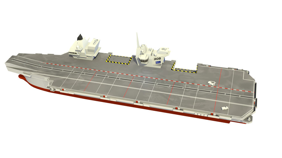 HMS Queen Elizabeth Aircraft Carrier royalty-free 3d model - Preview no. 2