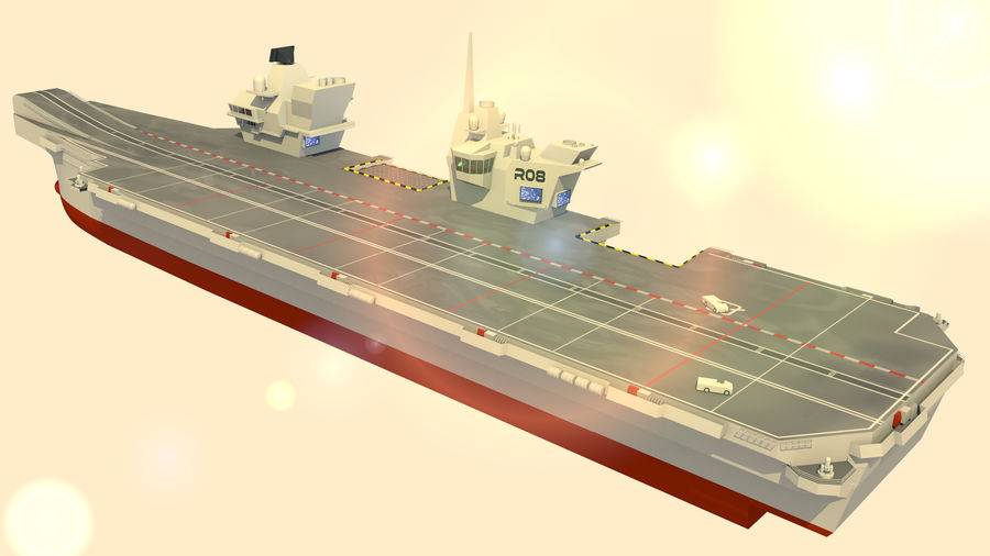 HMS Queen Elizabeth Aircraft Carrier royalty-free 3d model - Preview no. 13