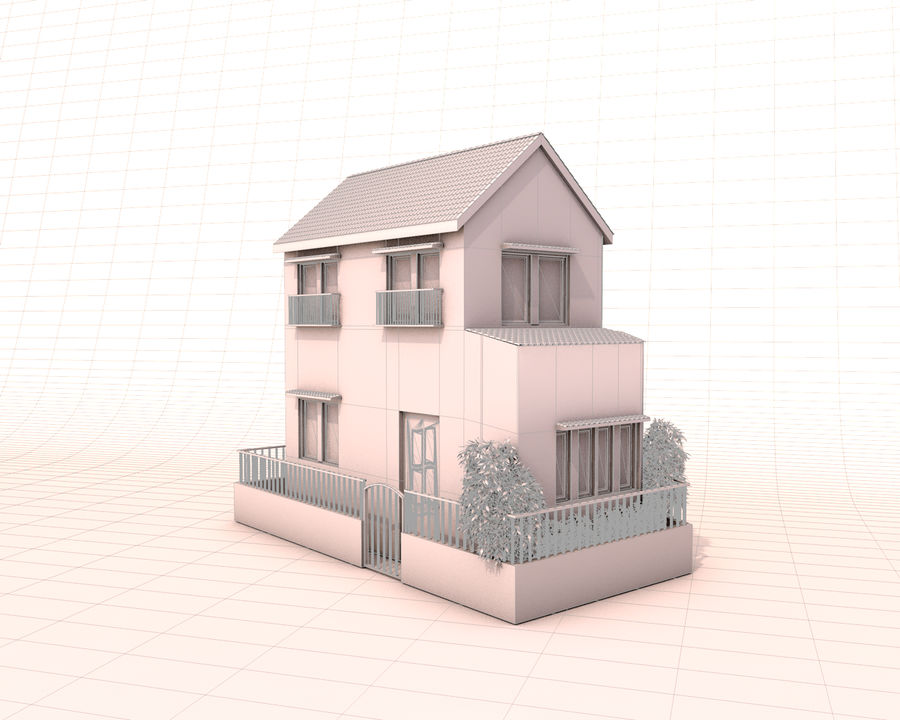Japon evi royalty-free 3d model - Preview no. 3