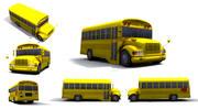 Scuolabus a basso numero di poligoni 3d model