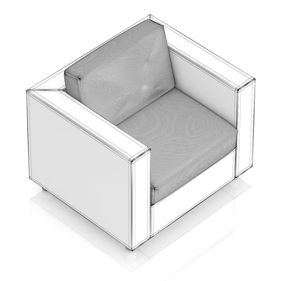 Poltrona in vimini royalty-free 3d model - Preview no. 6