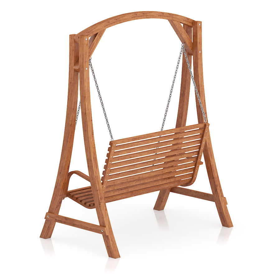 Wooden Bench Swing royalty-free 3d model - Preview no. 3