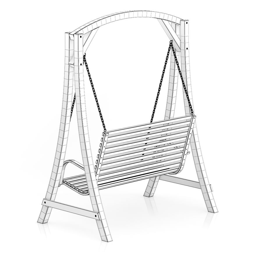 Wooden Bench Swing royalty-free 3d model - Preview no. 4