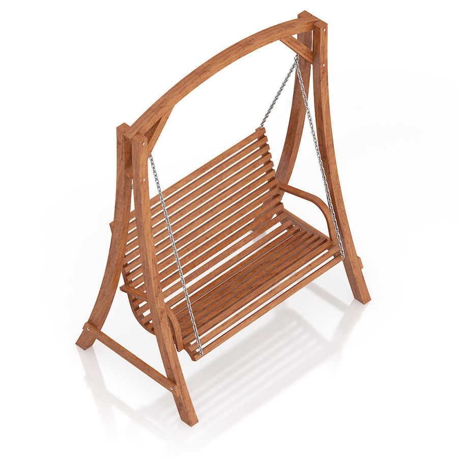 Wooden Bench Swing royalty-free 3d model - Preview no. 5