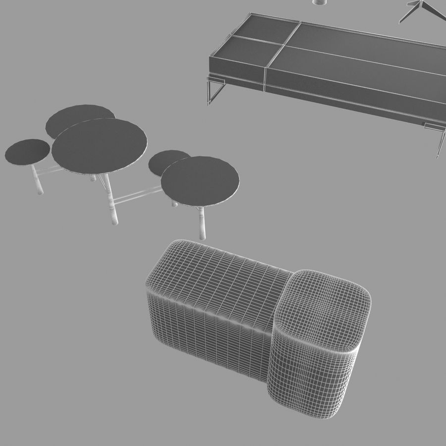 Collection de meubles lampes et tables royalty-free 3d model - Preview no. 6