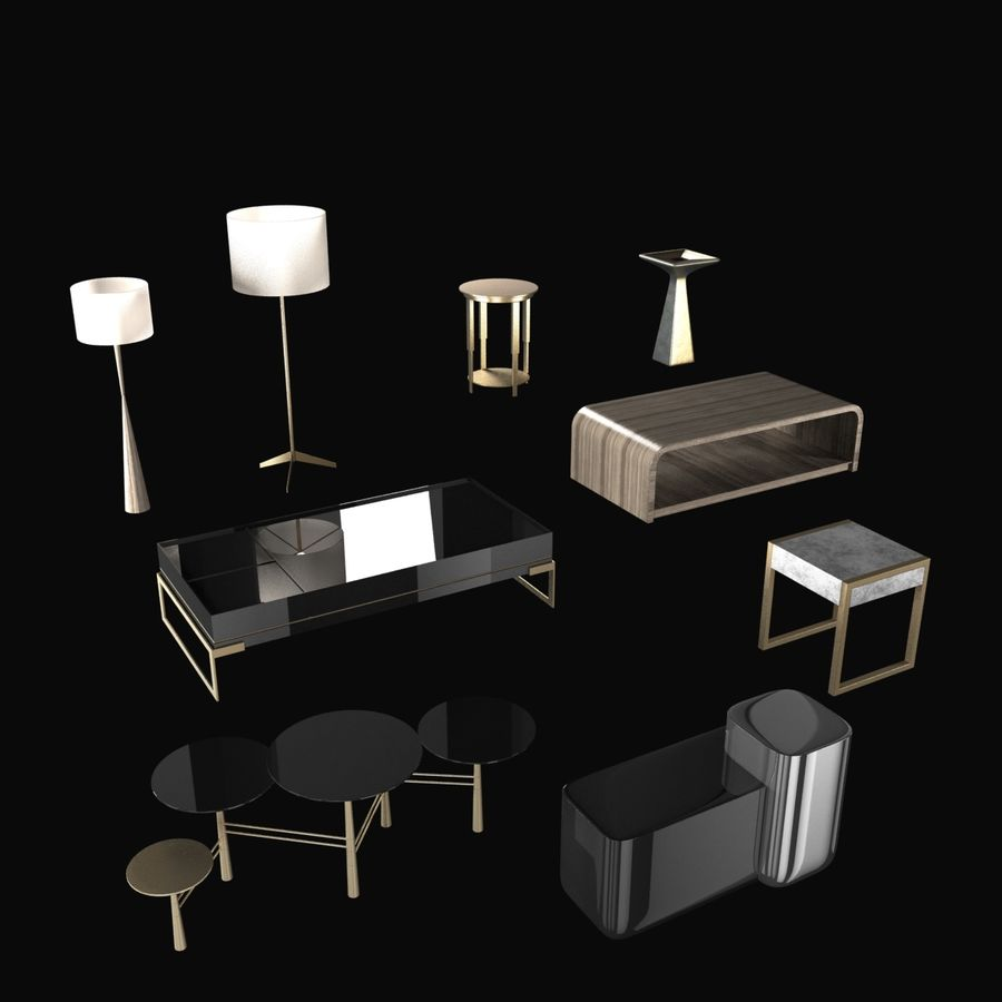 Collection de meubles lampes et tables royalty-free 3d model - Preview no. 2