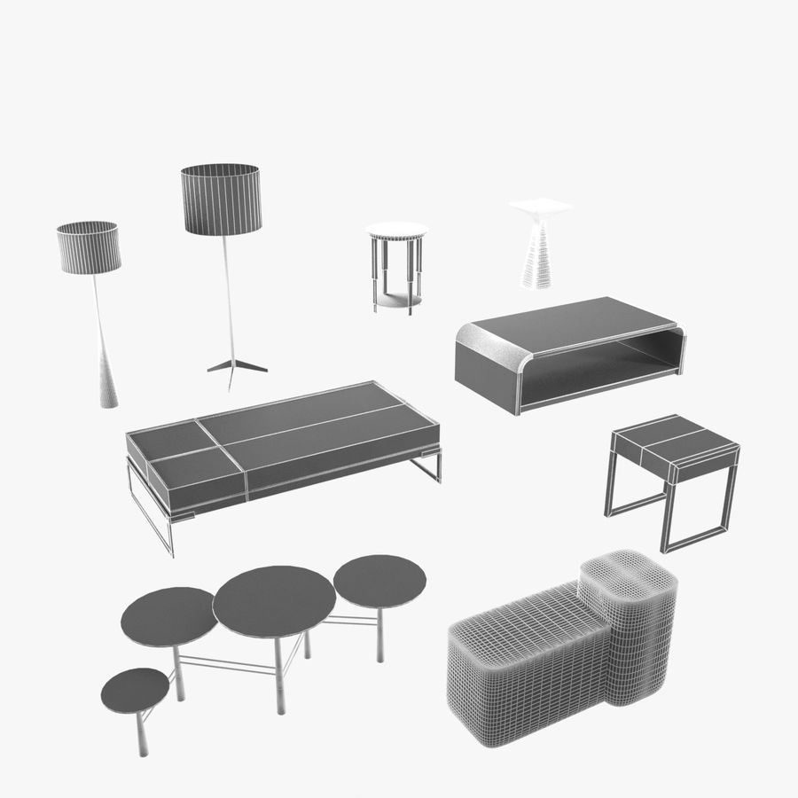 Collection de meubles lampes et tables royalty-free 3d model - Preview no. 3