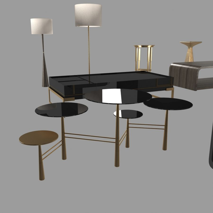 Collection de meubles lampes et tables royalty-free 3d model - Preview no. 13